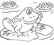 Coloriage et dessins gratuit Grenouille sur nénuphar à imprimer