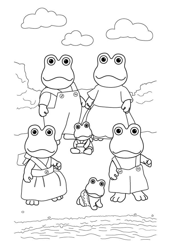 Coloriage et dessins gratuits Grenouilles en Famille à imprimer