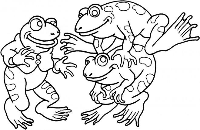 Coloriage et dessins gratuits Les Grenouilles s'amusent à imprimer