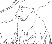 Coloriage Grizzly dans la nature
