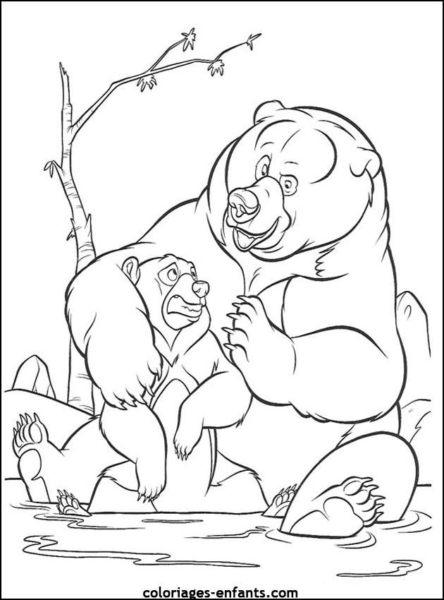 Coloriage et dessins gratuits Grizzly et son bébé à imprimer