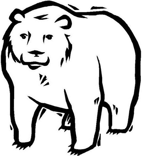 Coloriage et dessins gratuits Grizzly vecteur en noir à imprimer