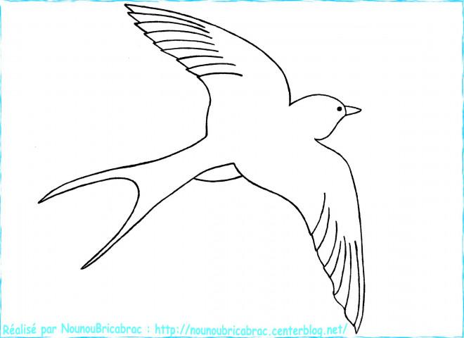Coloriage hirondelle dans le ciel dessin gratuit imprimer - Hirondelle coloriage ...