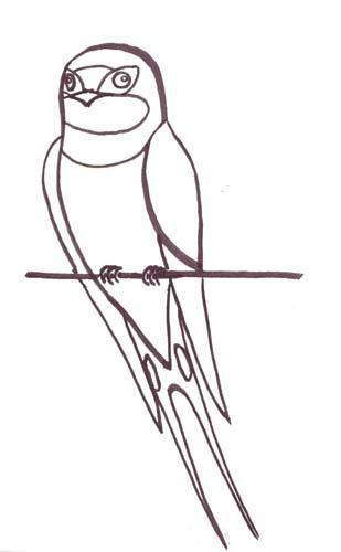 Coloriage et dessins gratuits Hirondelle sur fil au crayon à imprimer