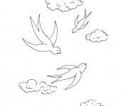 Coloriage et dessins gratuit Hirondelles en printemps à imprimer
