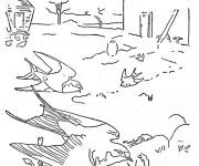 Coloriage et dessins gratuit Hirondelles sur terre à imprimer