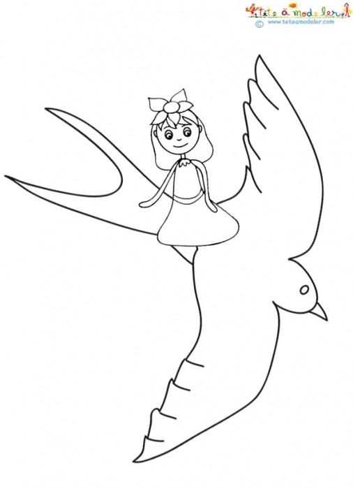 Coloriage et dessins gratuits Petite fille sur Hirondelle à imprimer