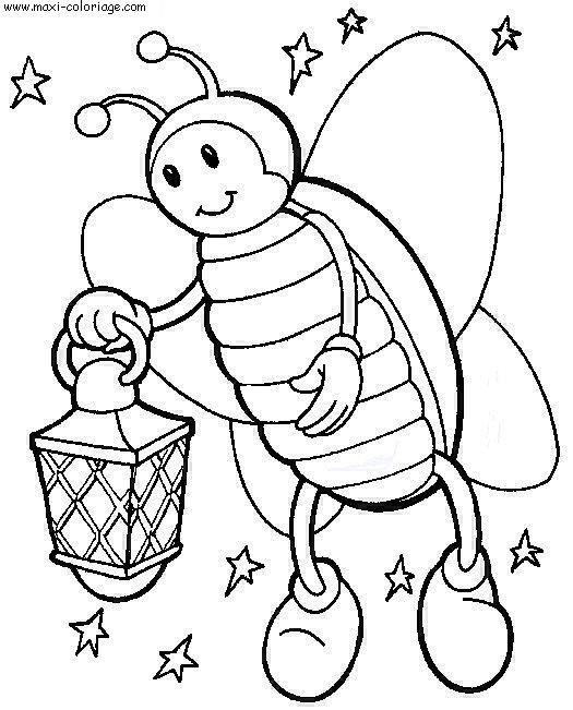 Coloriage et dessins gratuits Insecte au jardin pendant la nuit à imprimer