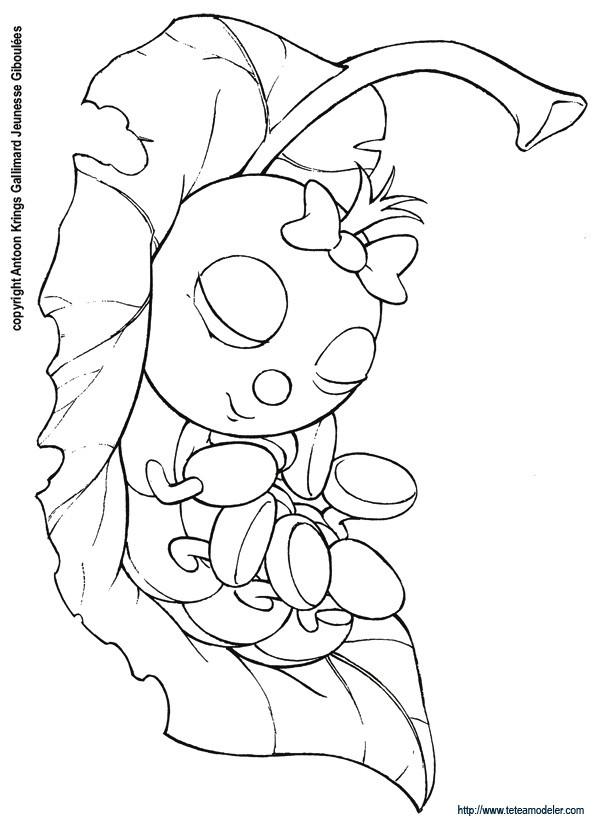 Coloriage et dessins gratuits Insecte en dormant à imprimer