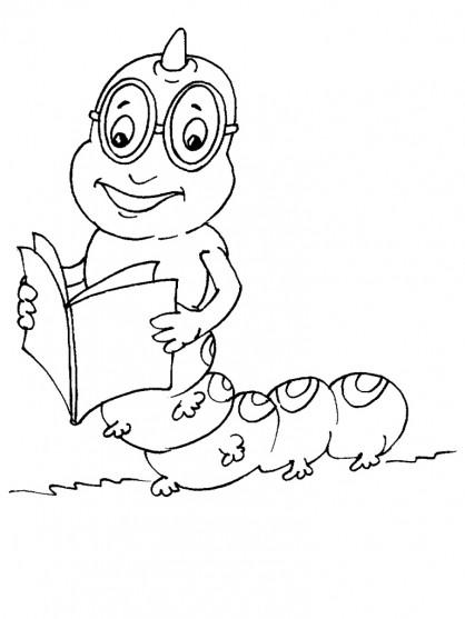 Coloriage et dessins gratuits Insecte qui lit un livre à imprimer