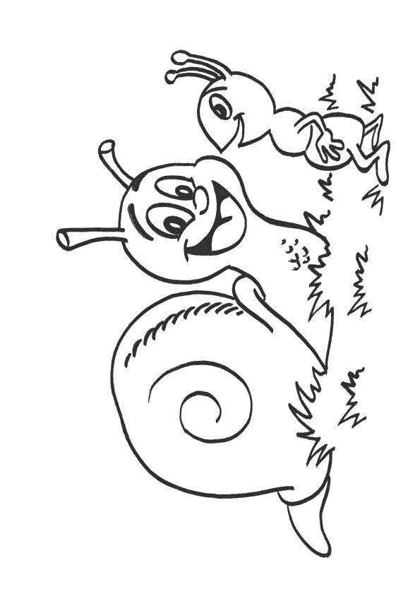 Coloriage et dessins gratuits L'Escargot et La Fourmi à imprimer