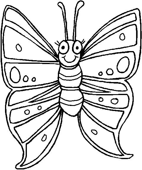 Coloriage Papillon Avec Tout En Souriant Dessin Gratuit A Imprimer