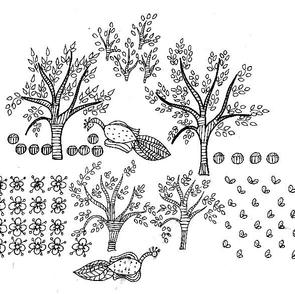 Coloriage Jardin Arbres.Coloriage Arbres De Jardin Dessin Gratuit A Imprimer