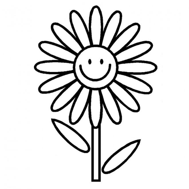 Coloriage et dessins gratuits Fleur souriante à imprimer