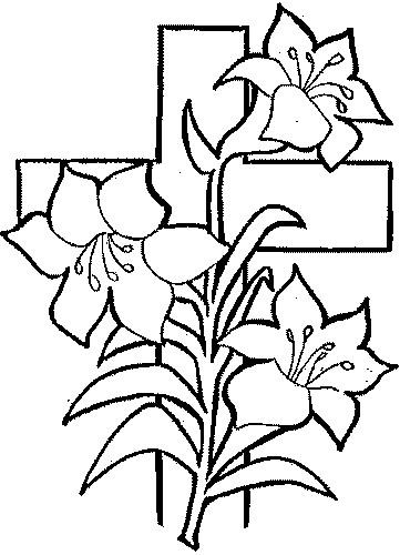 Coloriage et dessins gratuits Fleurs Croix à imprimer