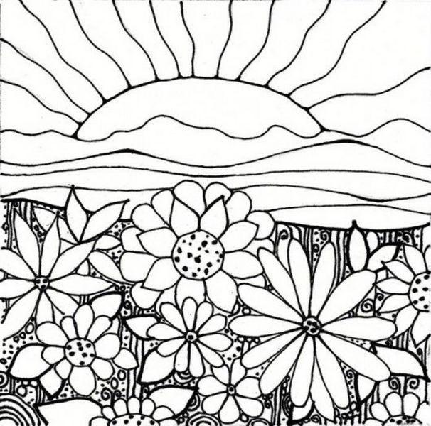 Coloriage et dessins gratuits Fleurs et le soleil mandala à imprimer