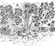 Coloriage Jardin Adulte en noir