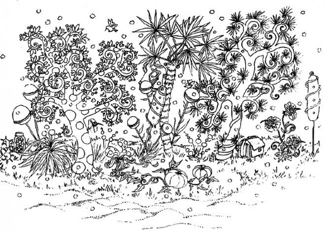 Coloriage et dessins gratuits Jardin Adulte en noir à imprimer