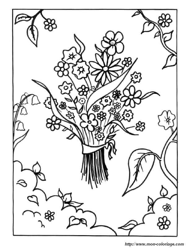 Coloriage et dessins gratuits Jardin et bouquet de Fleur à imprimer