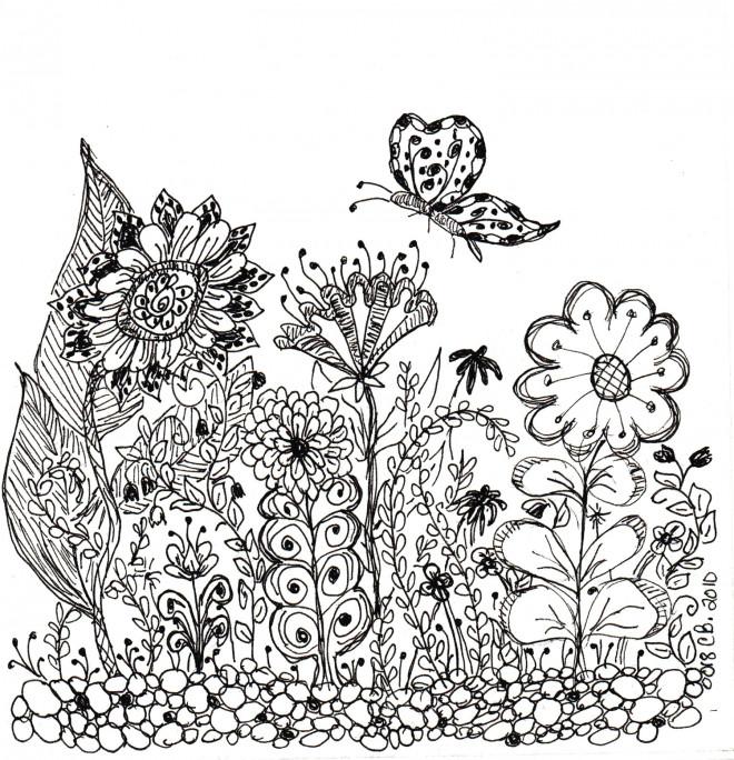 Coloriage Jardin Et Fleurs En Noir Et Blanc Dessin Gratuit à