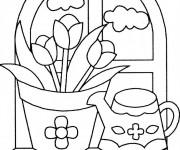 Coloriage et dessins gratuit Jardin Fleurs à la maison à imprimer