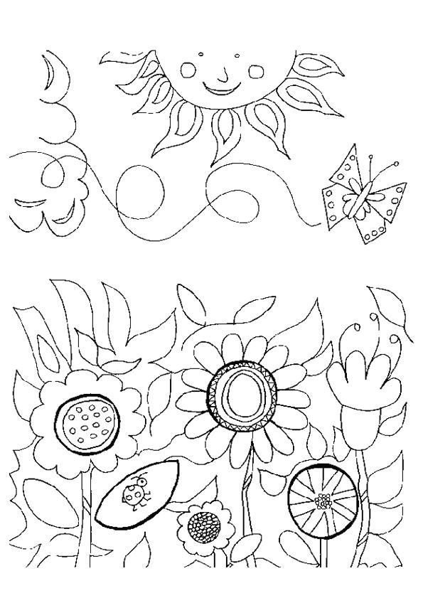Coloriage et dessins gratuits Jardin Fleurs en Printemps à imprimer