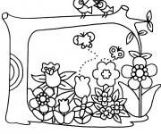 Coloriage et dessins gratuit Jardin Fleurs et Oiseaux à imprimer