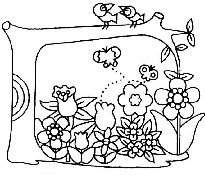 Coloriage et dessins gratuits Jardin Fleurs et Oiseaux à imprimer