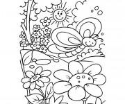 Coloriage Jardin Fleurs sous le soleil