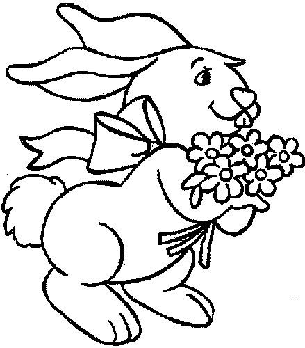 Coloriage et dessins gratuits Le Lapin et les Fleurs à imprimer