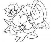 Coloriage et dessins gratuit Papillon heureuse sur Fleur à imprimer