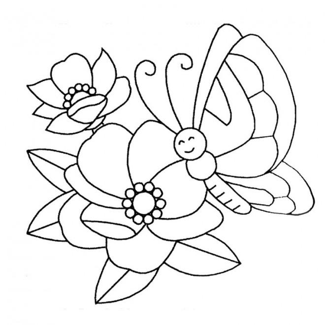 Coloriage et dessins gratuits Papillon heureuse sur Fleur à imprimer