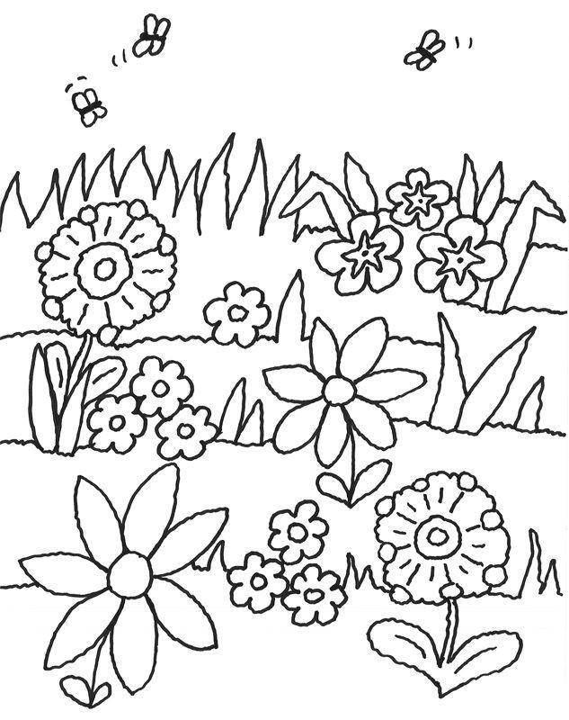 Coloriage Paysage Jardin et Fleurs dessin gratuit à imprimer