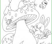 Coloriage Animaux s'amusent dans le Jardin