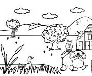 Coloriage Campagne et Animaux dessin animé