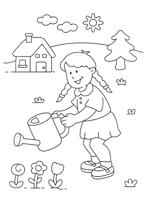 Coloriage et dessins gratuits Fille dans la Compagne à imprimer