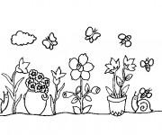 Coloriage et dessins gratuit Fleurs au Jardin en ligne à imprimer