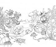 Coloriage Jardin et Animaux