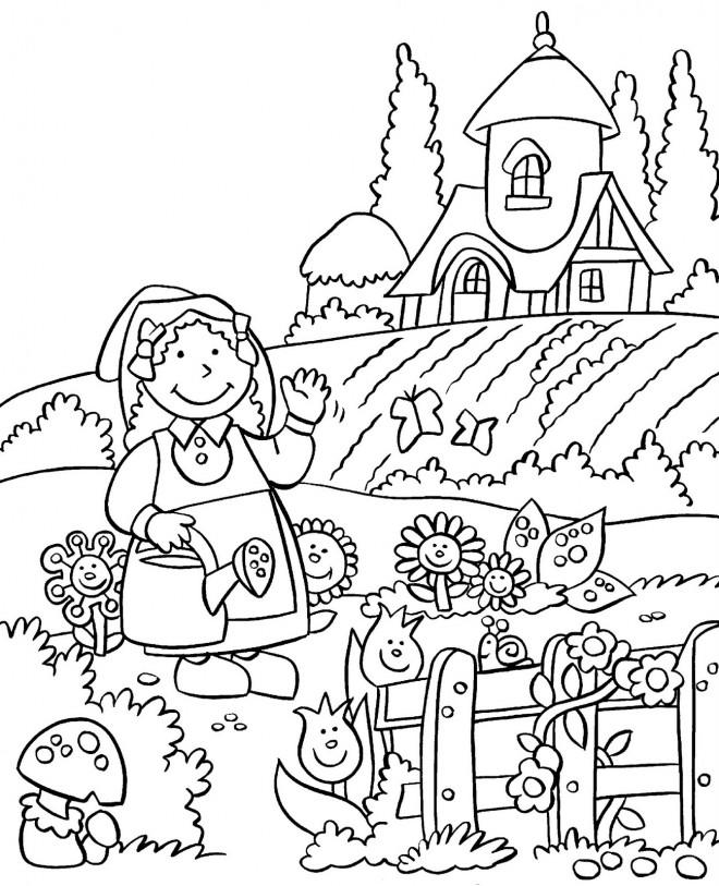 Coloriage Jardin et Fermier dessin gratuit à imprimer