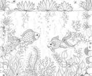 Coloriage Jardin et Poissons