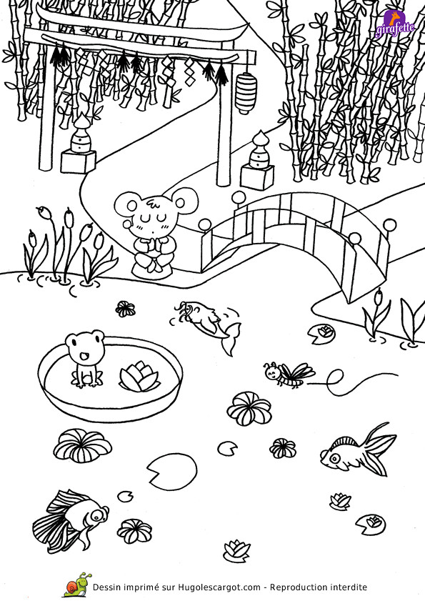 Coloriage et dessins gratuits Jardin Japonais à imprimer