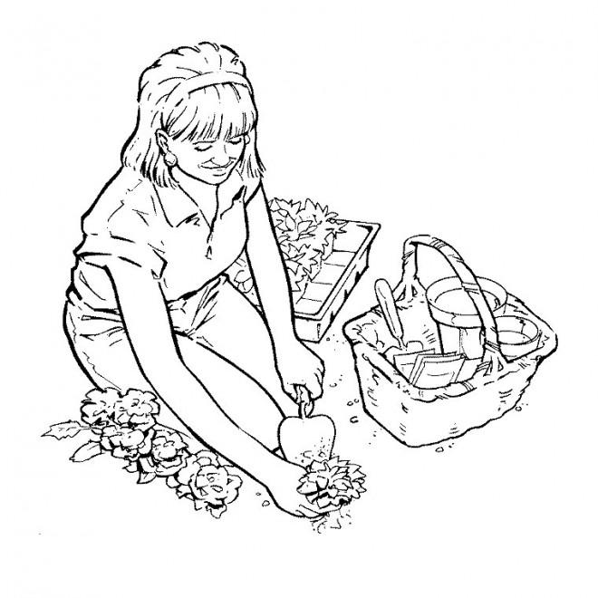 Coloriage jardinier en couleur dessin gratuit imprimer for Dessiner son jardin en ligne