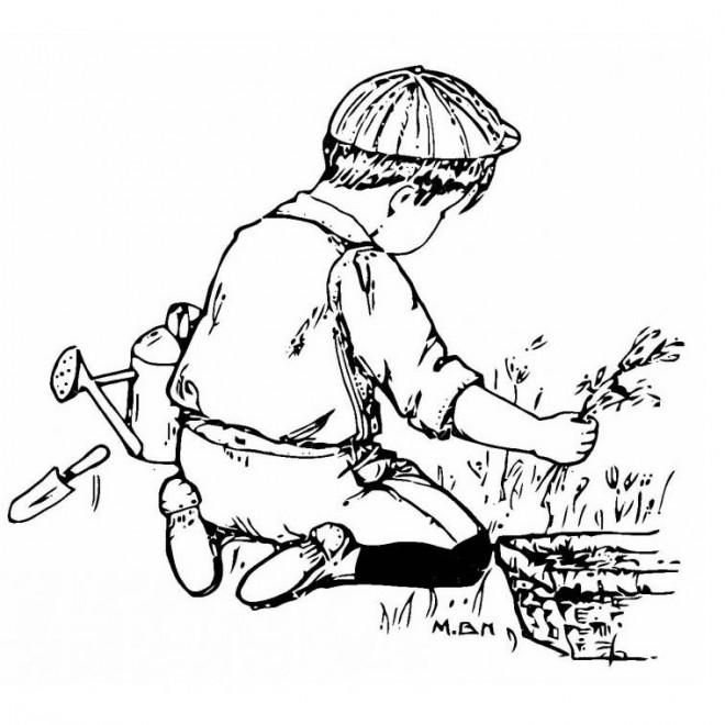 Coloriage jardinier enfant dessin gratuit imprimer - Dessin jardinier humoristique ...