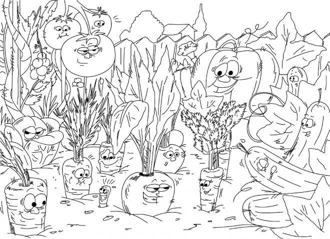 Coloriage Légumes Humoristiques Dessin Gratuit à Imprimer