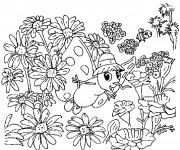 Coloriage Les Fleurs de Siméon le papillon