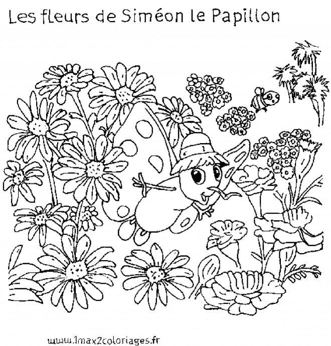 Coloriage et dessins gratuits Les Fleurs de Siméon le papillon à imprimer