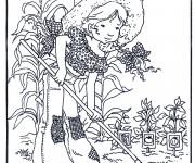 Coloriage Sarah Kay fait du jardinage
