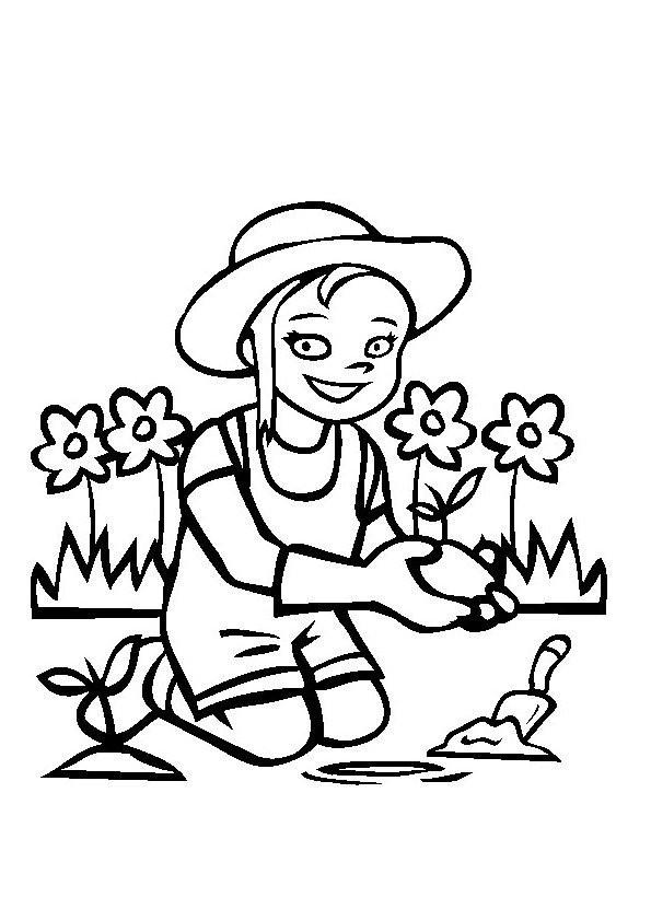 Coloriage Une Fille Fait Du Jardinage Dessin Gratuit à Imprimer