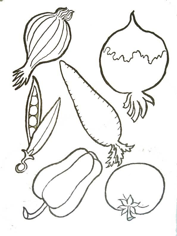 Coloriage et dessins gratuits Des légumes stylisés à imprimer
