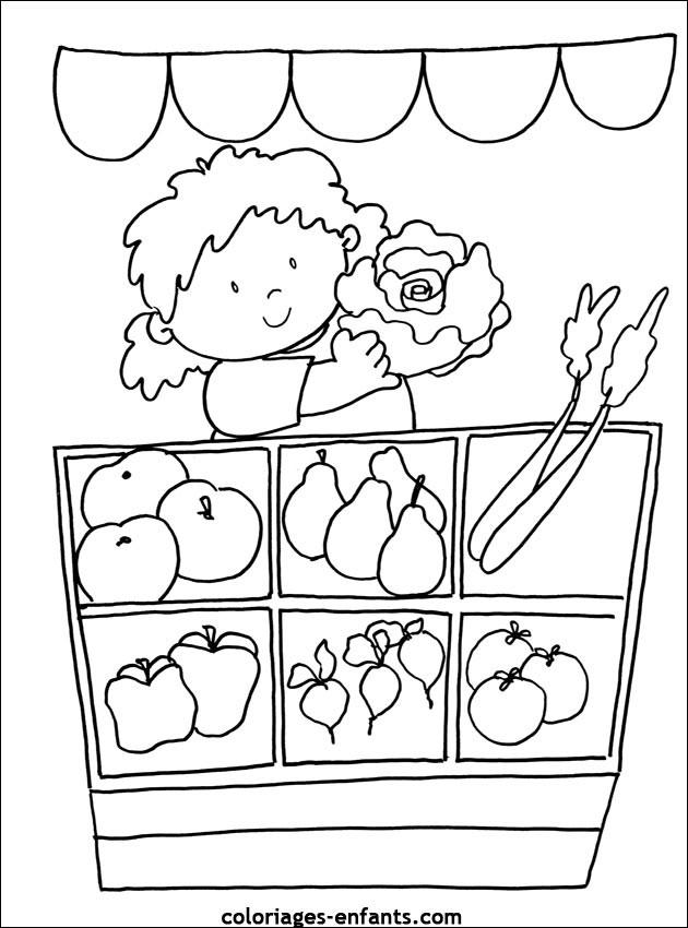 Coloriage et dessins gratuits Fille au marché des légumes à imprimer